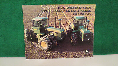 John Deere Tractor brochure on 4WD Models 8430 & 8630 for Mexico from 1975, V.G.
