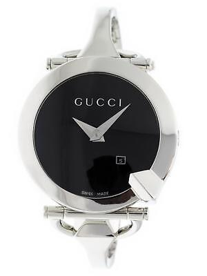 5ff30df0a09 NEW LADIES GUCCI 122 CHIODO BLK GUILLOCHE DIAL YA122502 1ct APPROX ...