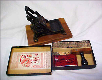 Vintage Mini Printing Hand Press Cast Iron with Type Letters Stamping Kit
