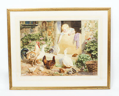 Vintage Large Medici Society Print by Helena Maguire Late 20th Century