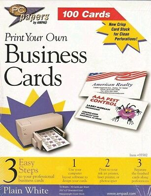 New PC papers 100 cards Print Your Own Business Cards plain white acid free