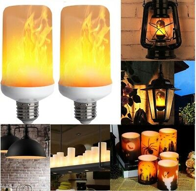 2Pcs E27 LED Flicker Flame Light Bulb Simulated Burning Fire Effect Nature Lamp