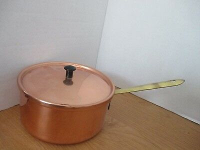 """VINTAGE Copper & Brass 6"""" SAUCE PAN & LID~Stainless Steel Interior"""