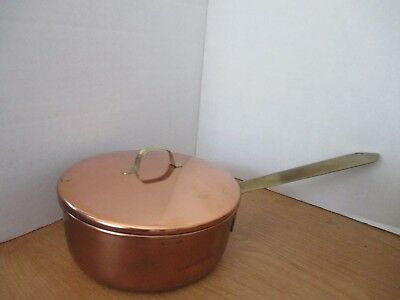 """VINTAGE Copper & Brass 6.25"""" SAUCE PAN & LID~Stainless Steel Interior"""