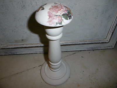Vintage wooden millinery stand hat stand painted with off white paint REDUCED