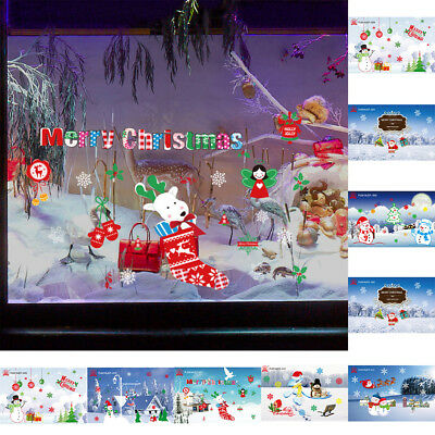 Uk_ Christmas Snowman Static Wall Sticker Home Glass Shop Window Decal Decor Fad