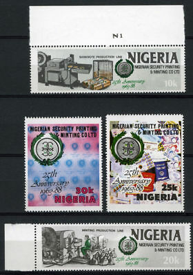 Nigeria 1988 Mnh Set 25Th Anniv. Of Nigerian Security Printing And Minting
