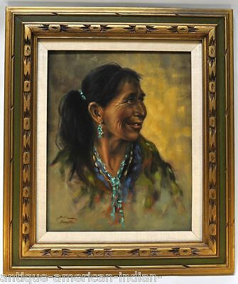 """Navajo Woman"" by Bill Hampton - Oil on Board 19 1/2"" x 15 1/2"" image"