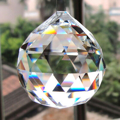 Feng Shui Hanging Crystal 20-50mm Clear Ball Sphere Prism Faceted Sun Catcher