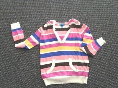 Girls Sweater Size 10-12 Large The Children's Place Stripped Hoodie Pockets