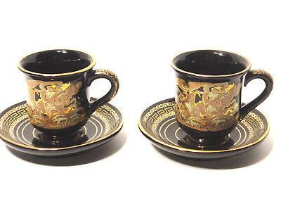 2 Black & Gold Greek Demitasse Cups & Saucers HAND MADE IN GREECE IN 24K GOLD