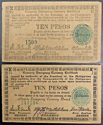 Philippines Negros Emergency Certificate Lot of Two Ten Peso Notes 1944 - 1945