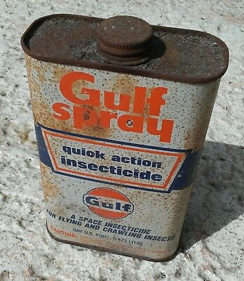 Vintage Gulf Oil Gulfspray Insect Spray Inspecticide Tin Can 1 Pint Empty