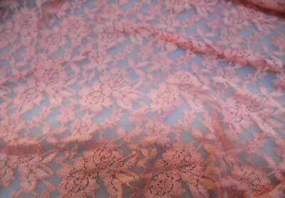 Discount Fabric Stretch Mesh Lace Peach Embroidered Floral Sheer D401