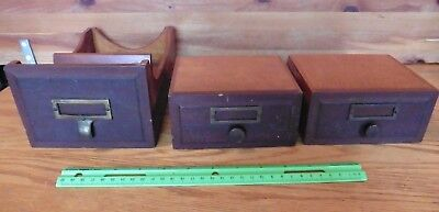 3 Wooden drawers Vintage desk top topper file drawers brass escutcheons antique