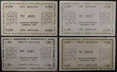 Lot of 4 Philippines Mountain Province Emergency 5 10 20 50 Centavos Notes