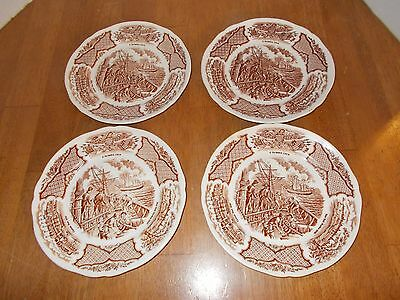 Set of 4 small plates, Fair Winds Copper Engravings, Historical Scenes, Meakin