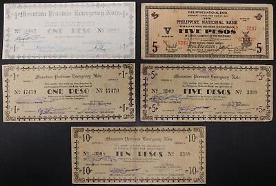 Lot of 5 Philippines Mountain Province Emergency Notes Two 1 & 5 w/ One 10 Pesos