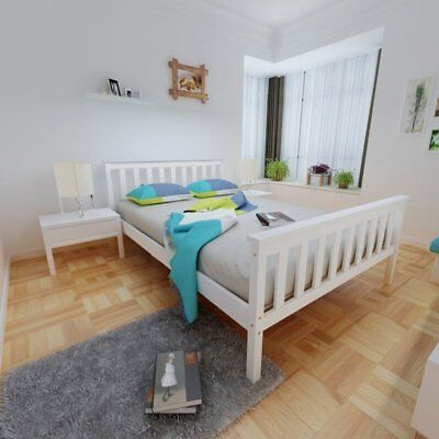 NEW 3FT/4TF6 Bed Frame Sigle Double SIze Modern Bedroom w/ Wooden Slat In White