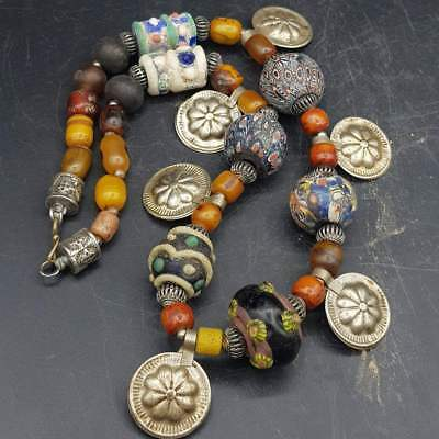 Wonderful Old Amber & Mosaic Glass Ancient beads Lovely Necklace    #6G
