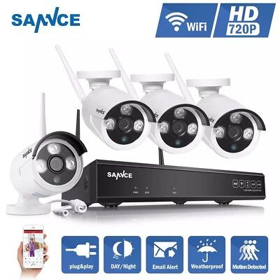 SANNCE 4CH Wireless IP Camera Wi-fi 720P HD Outdoor IR Night Vision