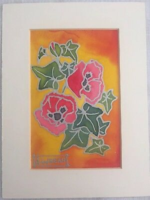 Original Silk Painting By Audrey Whear Poppy's