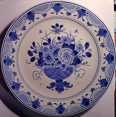 "Large 10 "" Royal Delft plate hand painted with a flower basket and floral border"