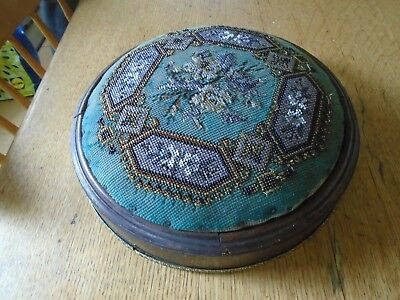 Antique Tapestry Kneeler / Stool  - Beadwork