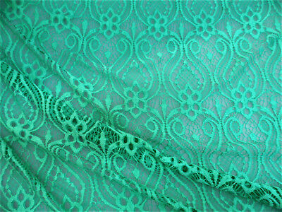 Discount Fabric Stretch Mesh Lace Dark Mint Embroidered Fleuron Bulb Sheer D104