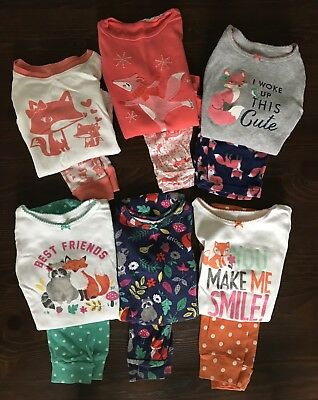 Love Foxes? Lot of 6 Toddler Girls Fox Pajamas 3T Carters Old Navy Baby Gap