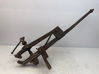 "Antique Vintage Blacksmith Post Leg Vise 4-1/2""-Jaws 41-1/2""-Tall 50-lbs"