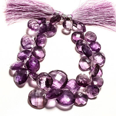 Faceted Amethyst  Natural Gemstone Almonds Shape 244Ct Strand 8 ""