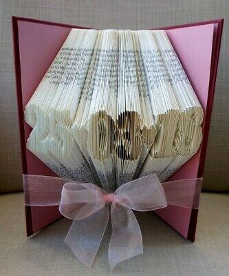 Folded book art personalised date 1st first paper wedding anniversary gift