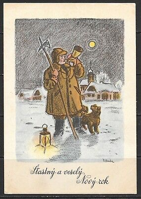 "1940s Czechoslovakia ""Happy and Merry New Year"" card  that is used"