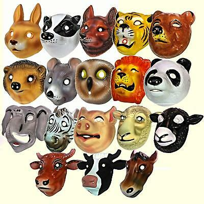 Kids Animal Face Masks Childrens Farm Woodland Jungle Plastic Fancy Dress Party
