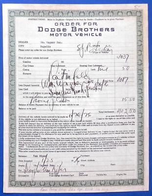 1926 DODGE Brothers automobile SALES ORDER form certificate Bayside NY