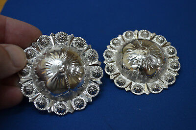 Finest FLEMING STERLING SILVER Berry Bead Engraved Rosette Conchos - Headstalls