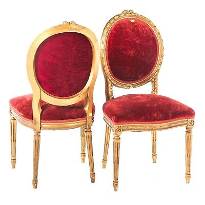 Pair of French Louis XV Style Finely Carved Giltwood Antique Arm Chairs Fauteuil