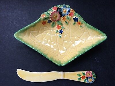 Crown Devon Garden Path Diamond Shaped Butter Dish and Knife 3057