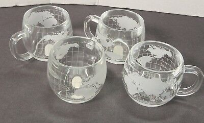 Four (4) Nestle atlas world globe frosted etched glass mugs (NOS - brand new)