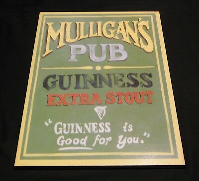 Mulligan's Pub Wood Sign Guinness Extra Stout