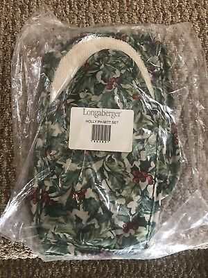 Longaberger American Holly Oven MIT And Hot Pad Set NIB