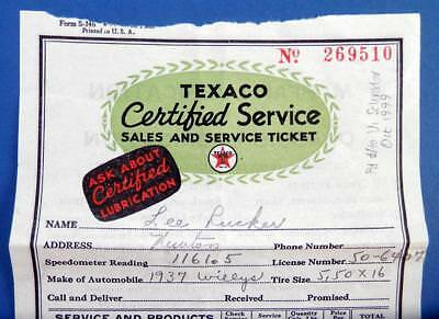 1937 TEXACO Sales and Service Ticket - gas station garage oil change lube