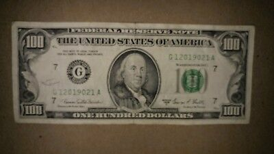 RARE Old Style 1969 C $100 Bill Hundred Dollar Bill Chicago Federal Reserve Note