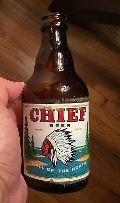 Old Chief Beer Bottle Oshkosh WI Advertising Breweriana Indian Head Logo