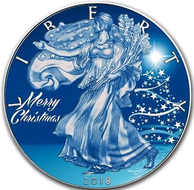 2018 1 Oz Silver $1 BLUE CHRISTMAS EAGLE Coin.