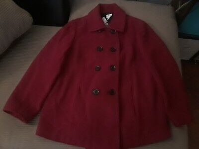 Motherhood Maternity Medium Jacket Red Maroon Lined Wool Blend Peacoat Buttons
