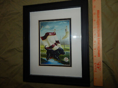 LAUNDRY TIME original lithographic print framed painting black lab puppy dog