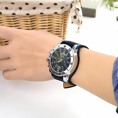 Large dial Watch Face Wide Band Men Boy Wristwatch PU Leather Stainless Steel 7~