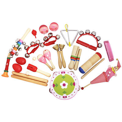 22x Wooden Musical Instruments Toys Kit Percussion Toys Rhythm Band Kids Toys